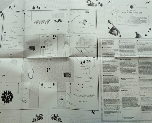 Fig 4. The tourist's map, featuring the floor plan of the exhibition on the ground floor of the Van Abbemuseum's new building. Photo by the author.