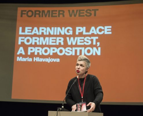 Introduction by Maria Hlavajova at Documents, Constellations, Prospects. Former West Research Congress, 2013, House of the Cultures of the World, Berlin © Marcus Lieberenz.