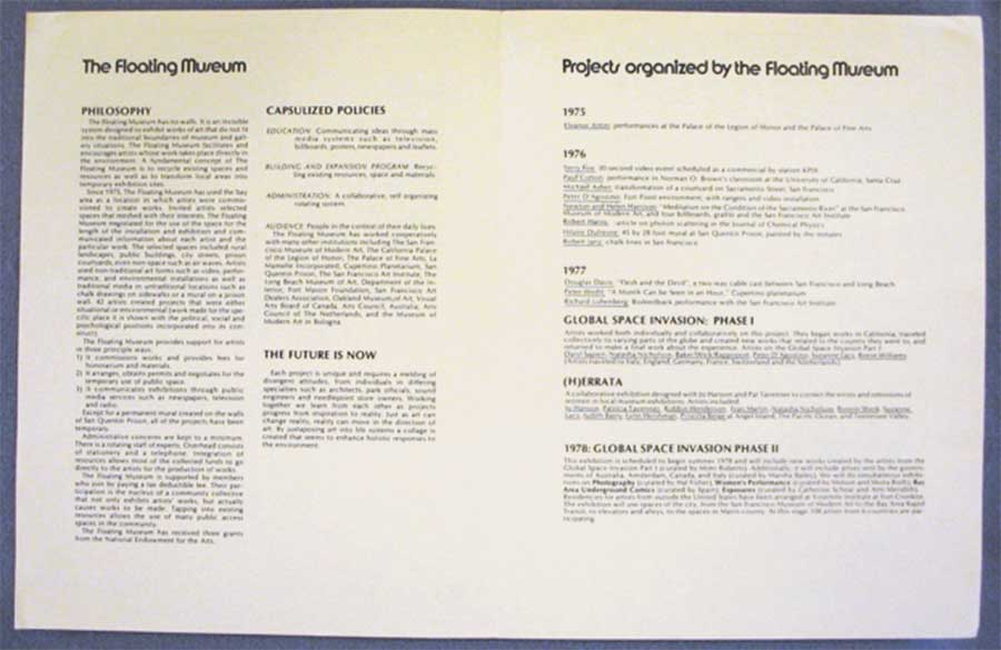Figure 6. The Floating Museum philosophy and policies, 1974–1978. Courtesy of Lynn Hershman Leeson.